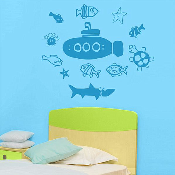 Submarine and sea creature decals