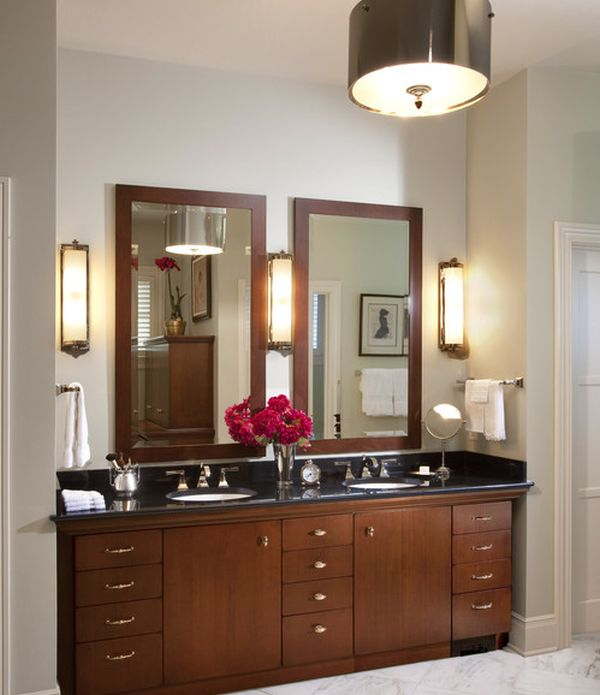 Bathroom Vanity Lights Traditional : Traditional bathroom vanity design in rich color - Decoist