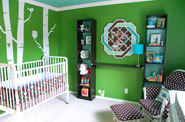 Tree trunk decals in a green nursery