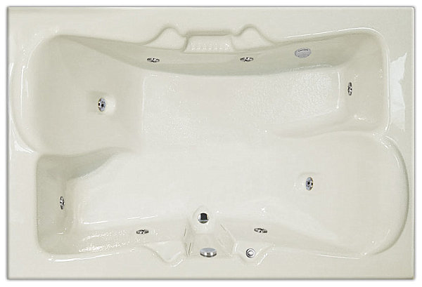 Two-person tub for side-by-side bathing