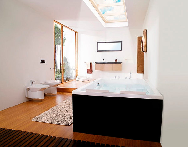 Two-seater rectangular bathtub