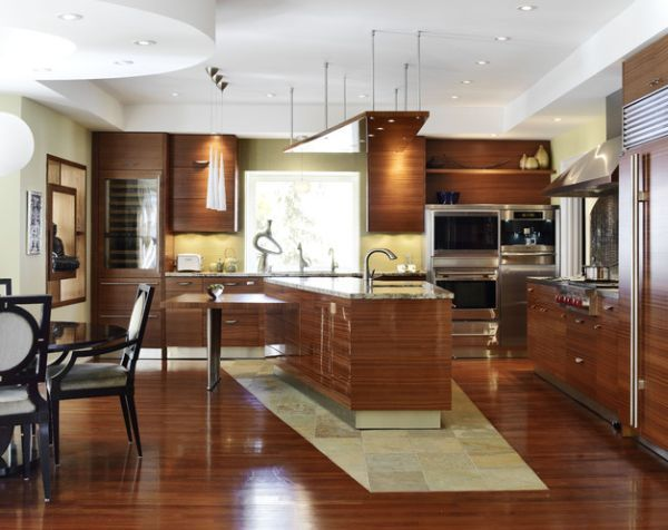Unique island shape and modern Asian accents grace this attractive contemporary kitchen
