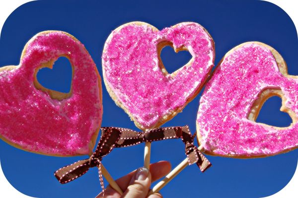 Valentine Lollipop Cookies in Pink- A heart within a heart!