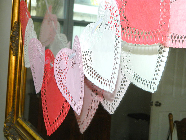 Valentine's Day doily decorations