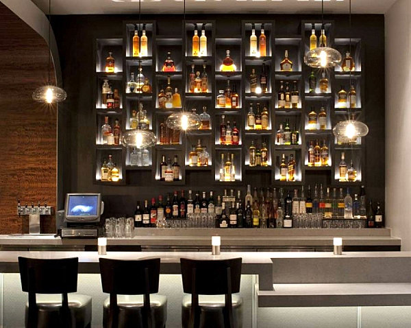 vesu restaurant bar with backlighting - Bar Designs Ideas