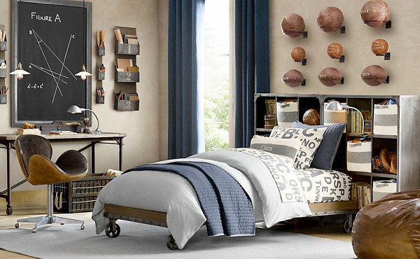 Vintage sports-themed bedroom