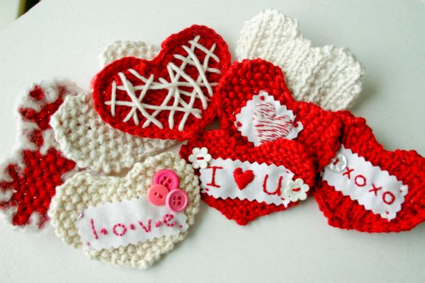 Warm and cozy looking Valentine's Day heart knits
