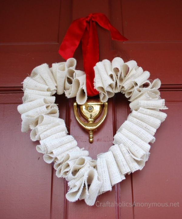 White Burlap Heart Wreath