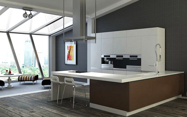 White bar in a modern kitchen