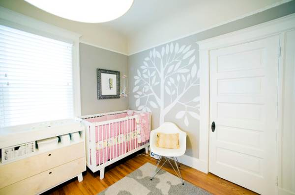 White tree decal in a modern nursery