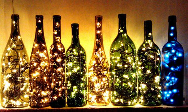Empty wine bottles uses as a light display