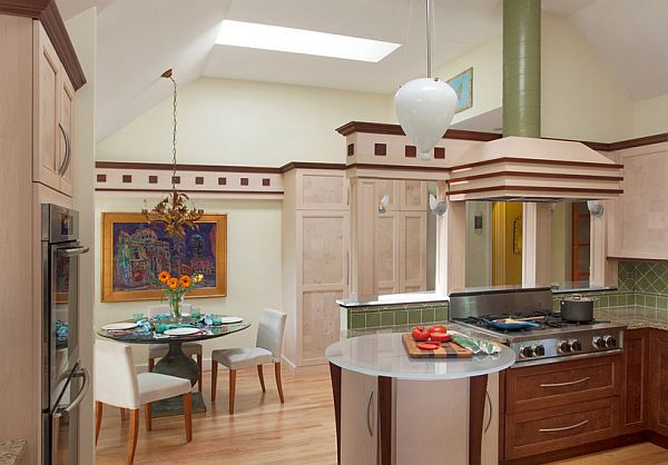 Large kitchen with art deco elements