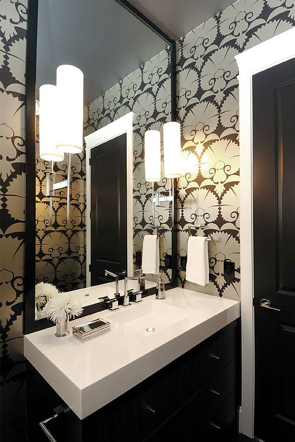 Art deco wallpaper for the bathroom decoist for Bathroom powder room designs