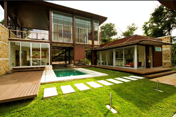 backyard design with lawn Sustainable Tropical Home in Costa Rica Sports Cool Design