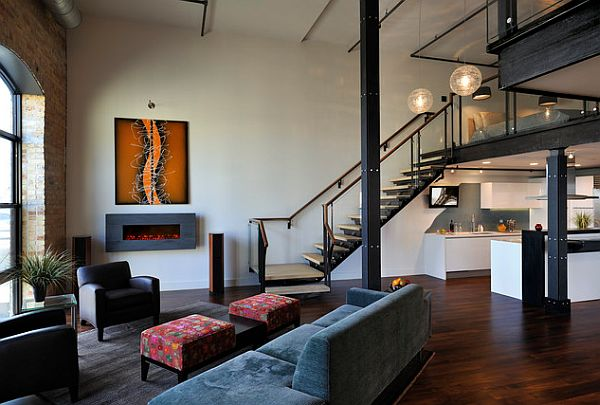Beautiful dark wood flooring in a rather modern loft design