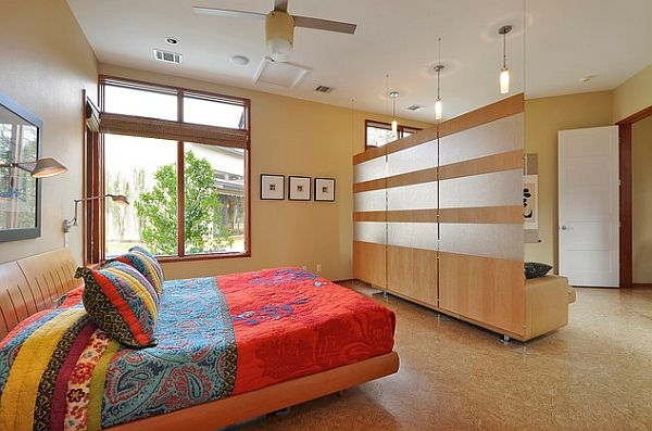 view in gallery stylish bedroom divider wood hanging on cables