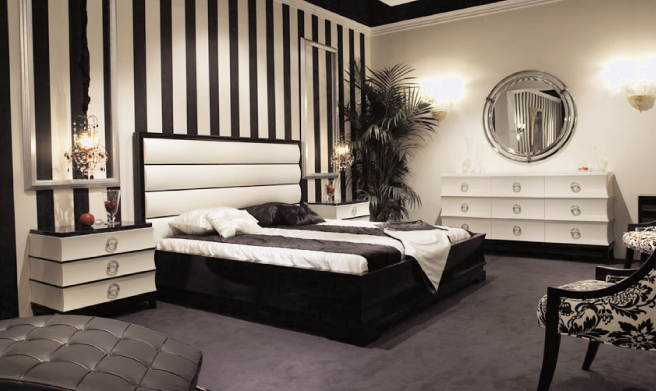 black and white art deco bedroom