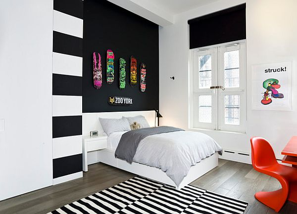 View in gallery Black and white teenage bedroom