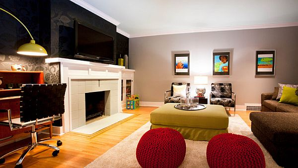 How to decorate your home with color pairs for Red and black themed living room