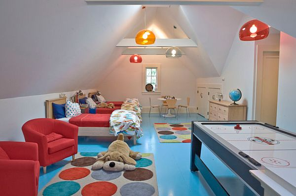 Blue and red kids rooms with polka dots rug