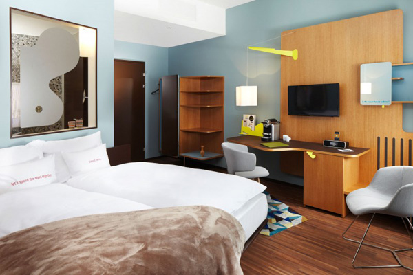 blue walls hotel room