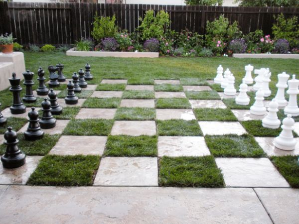 A one-of-a-kind chess board lawn