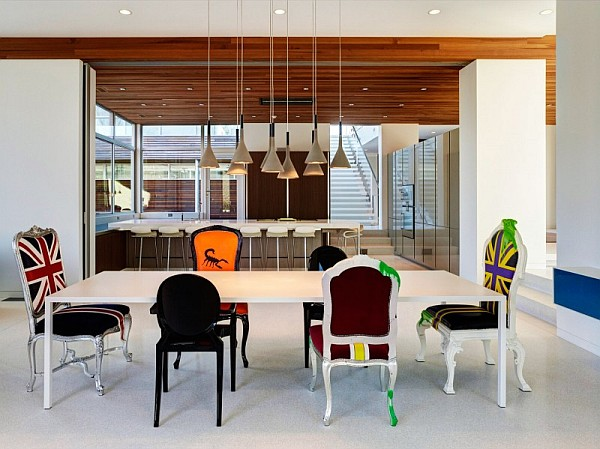 chic dining room1 Contemporary Home in Ohio With Bright, Bold Interiors