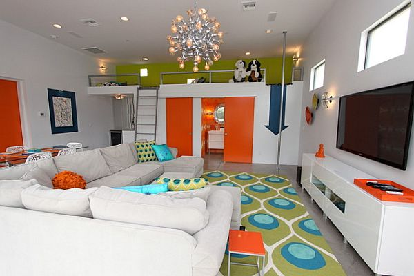 Playful loft living room with bold colors