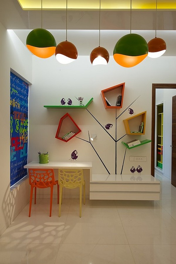 Contemporary kids room with fancy wall shelves