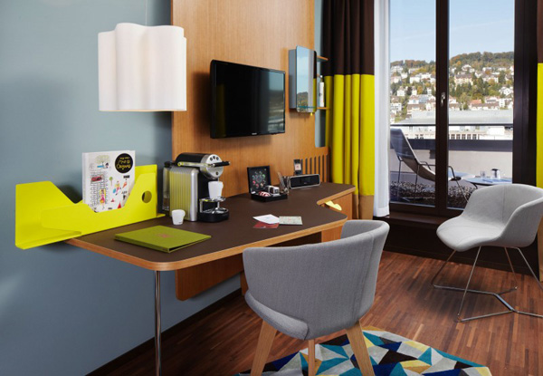 25 hours hotel in zurich charms with bright and brilliant for Cool office rooms