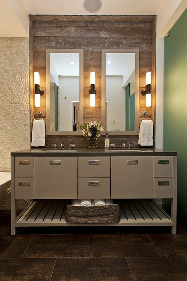 Custom vanity with chic lamps on a reclaimed wood wall