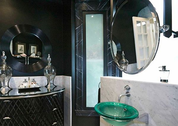 Dark art deco bathroom design with a chic feel