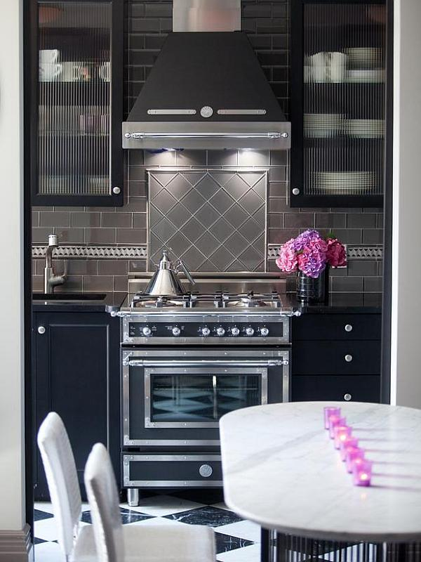 View in gallery Art deco kitchen design with dark furniture