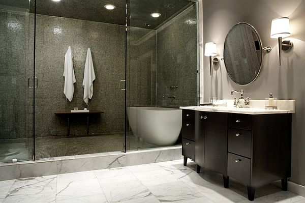 dark bathroom with great lighting How to choose the lighting scheme for your bathroom