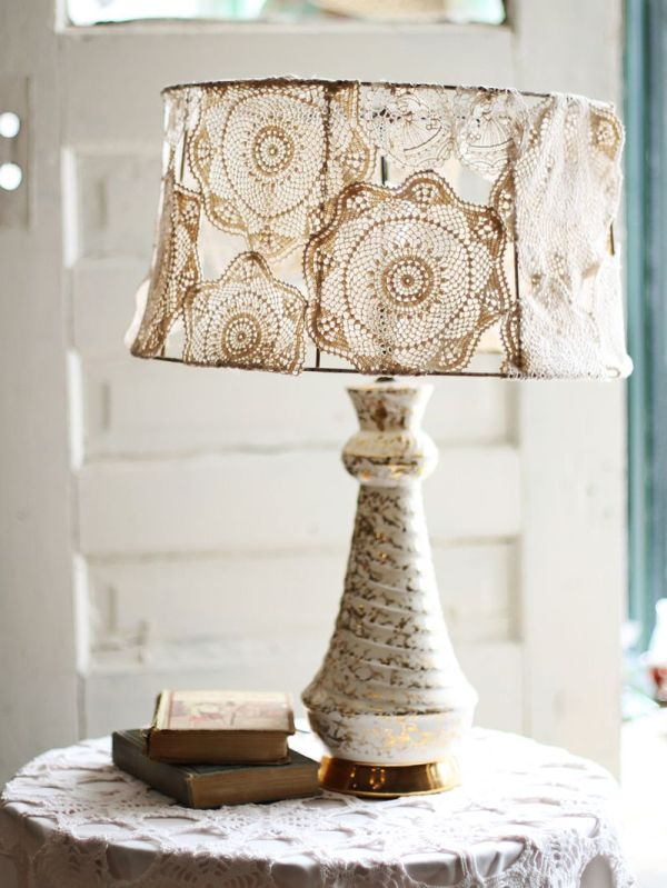 doily lampshade 8 Cool DIY Lampshade Designs