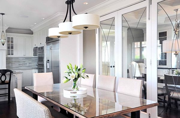 Bright dining room lighting