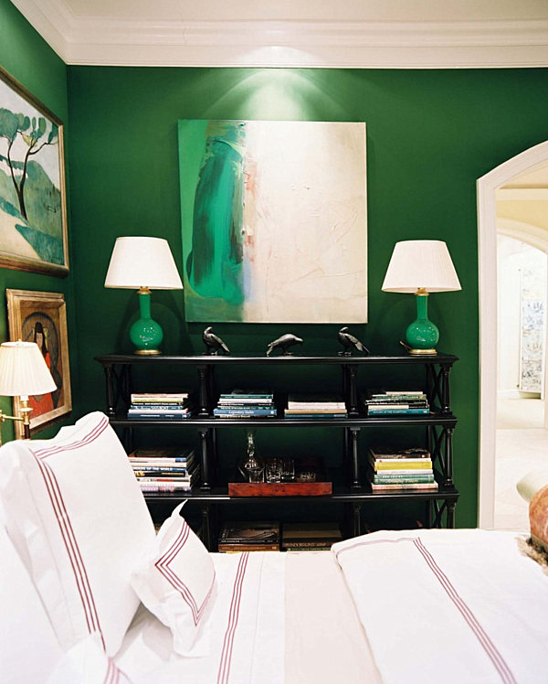 Emerald green bedroom with white accents