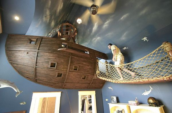 floating pirate ship bedroom