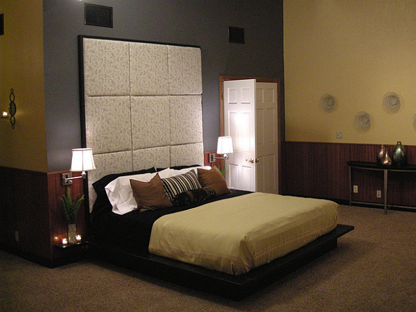 Floating platform bed design with an elegant flair