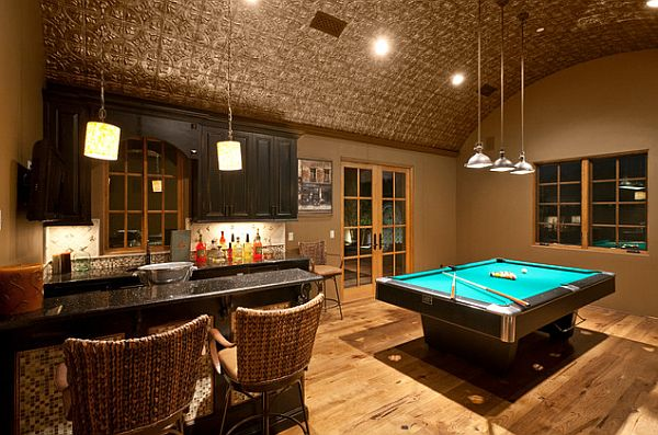 gaming room with pressed tin ceiling