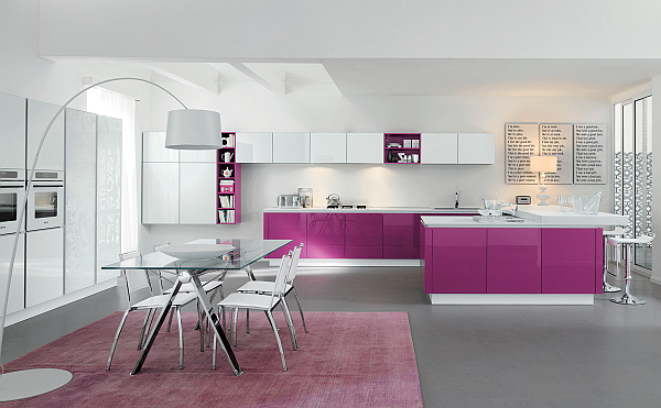 Modern kitchen design in purple Glossy purple kitchen cabinets