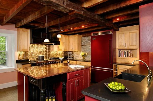 Golden pressed tin kitchen backsplash