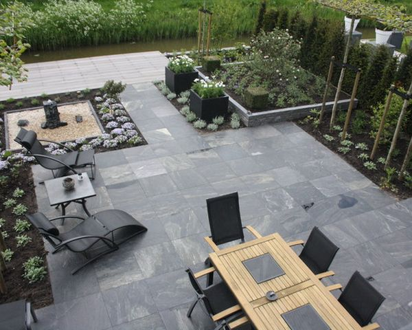 Grey stone paver patio
