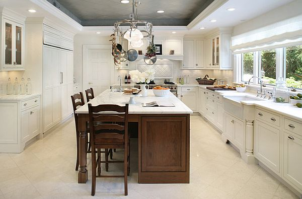 Grey pressed tin ceiling in white kitchen