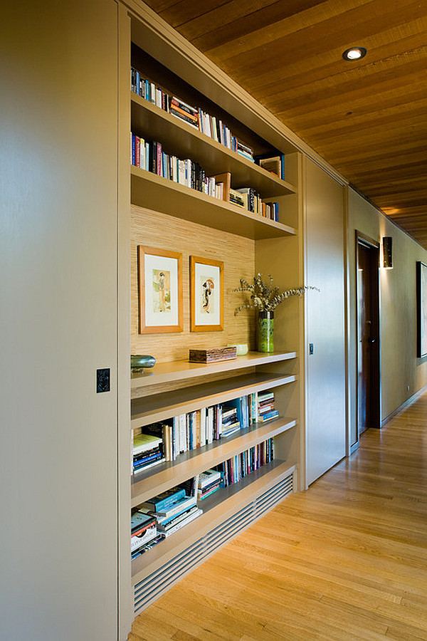 Hallway with built-in shelves
