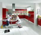 High gloss Napoli red kitchen with a white theme