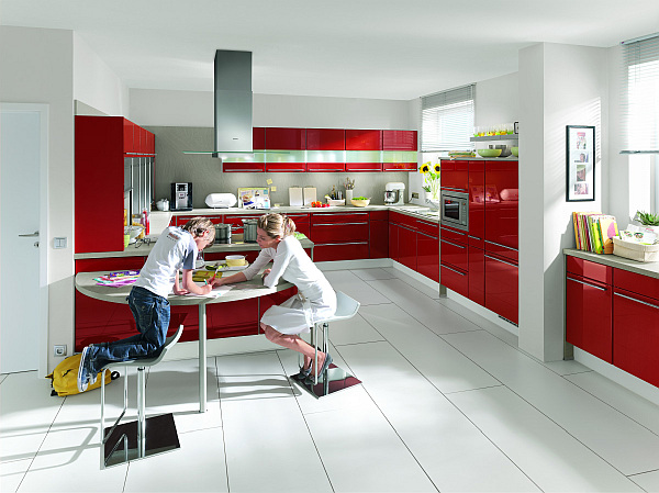 View In Gallery High Gloss Napoli Red Kitchen With A White Theme