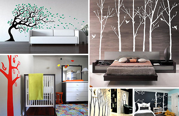 interiors with tree wall decals