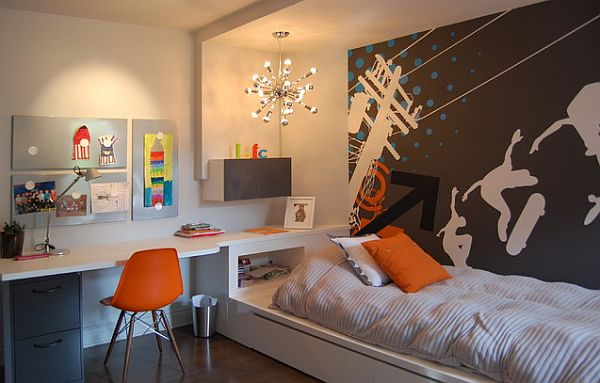 Modern kids bedroom idea with an integrated desk