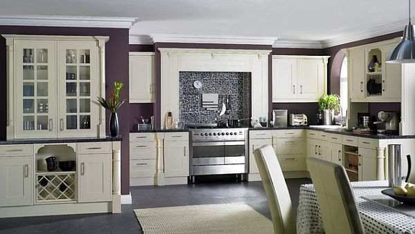 Purple kitchen walls go great with the white furniture